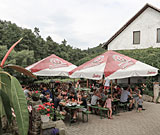 Pub Dubina – restaurant terrace on the bank of the River Ohře